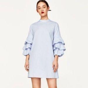 Zara Basic Tiered Ruffle Sleeve Dress